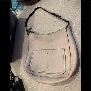 Coach Pebbled Leather Bag White Hobo Bag